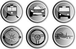 Circle Travel Icons. Six transparent icons  to guide on the road Stock Photo