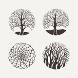 Circle trees set. Vector illustration. Pattern geometric figure. Stock Photos