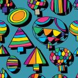 Circle triangle tree free drawing seamless pattern Royalty Free Stock Photo