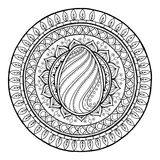 Circle tribal doodle mandala with easter egg. Royalty Free Stock Photography