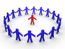 Circle of trust. Blue figures surrounding a red one Stock Photos