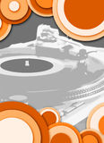 Circle turntable grey orange. Turntable - dj's vinyl player with circle decoration Stock Photos