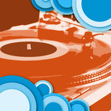 Circle turntable  red blue. Turntable - dj's vinyl player with circle decoration Stock Images