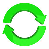 Circle of two arrows, 3d. Green circle of two arrows, symbol of recycle, refresh and reload, 3d illustration Royalty Free Stock Images