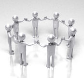 Circle of Unity and Equality. 3D rendered image of shiny people holding hands in a circle Royalty Free Stock Photography