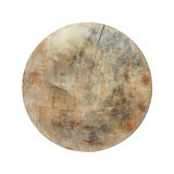 circle used wooden cutting board isolated on white Royalty Free Stock Photo