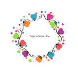 Circle valentine day colorful hearts vector and snowflakes greeting card Stock Image