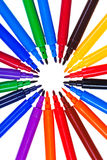 Circle of varicolored felt pens Stock Photography