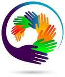 Colorful hands round vector image. vector illustration