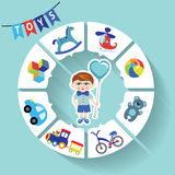 Circle vector children infographic.Little boys Royalty Free Stock Photo