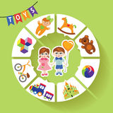 Circle vector children infographic.Little boys and Royalty Free Stock Photography