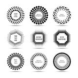 Circle vector dotted burst halftone banners Royalty Free Stock Images