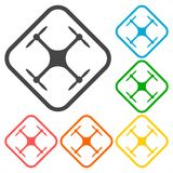 Circle vector icon for quadrocopter, silhouette quadrocopter a top view icons set Stock Photography