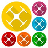 Circle vector icon for quadrocopter, silhouette quadrocopter a top view icons set with long shadow Stock Photos