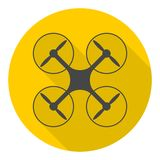 Circle vector icon for quadrocopter, silhouette quadrocopter a top view icons set with long shadow Royalty Free Stock Images