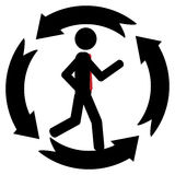 In circle. Vector , illustration. A man is running in a circle that is made from four arrows Stock Image