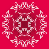 Circle vector ornament on red base. Ancient white ornament vector art on red base vector illustration