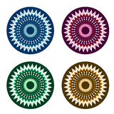 Circle vector ornaments. Set of round geometric isolated ornaments. Vector illustration Stock Photography