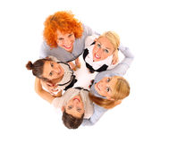 Circle of victory. A picture of five happy successful busineswomen cheering over white background Stock Photos