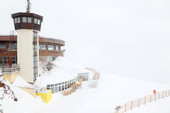 Circle viewing platform for skiers Royalty Free Stock Photos