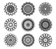 Circle vignette lace decorations set Royalty Free Stock Photography