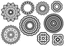 Circle vignette lace ornaments set Stock Image