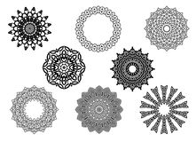 Circle vignette lace ornaments set Stock Photography