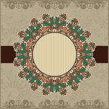 Circle vintage ornamental template with place for Royalty Free Stock Photos