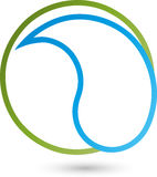 Circle and water drops, wellness and water logo. Circle and water drops, drops, wellness and water logo Stock Photo