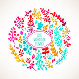 Circle of watercolor flowers Royalty Free Stock Images