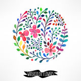 Circle of watercolor flowers. Beautiful card with a circle of watercolor flowers and place for text Stock Photos