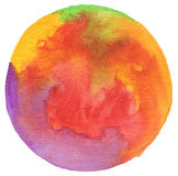 Circle watercolor painted background. Stock Images