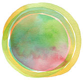 Circle watercolor painted background. Stock Photo