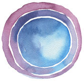 Circle watercolor painted button background. Royalty Free Stock Images