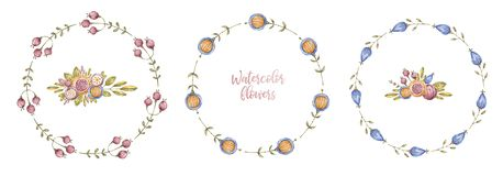 Circle watercolour flower frames, framework set vector illustration