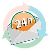 24/7 circle web glossy icon. Post Office Stock Image