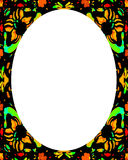 Circle White Frame Background with Decorated Borders. White circle frame background with decorated ornate design borders vector illustration
