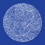 Circle with white lacy frosty pattern on blue background royalty free illustration