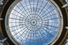 Circle window on the ceiling of shopping mall stock photo