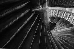 Circle wood stairs blackground. Black-white circle wood stair background in the church Stock Images