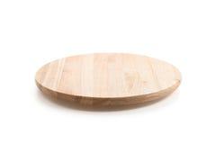 Circle wood tray. On white background Stock Images