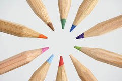 Circle of wooden color pencils Stock Photos