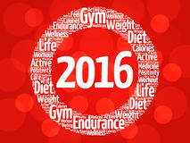 2016 circle word cloud, health concept. Background Royalty Free Stock Photos