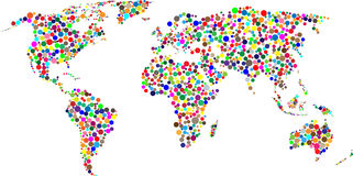 Circle world map with countries, vector Royalty Free Stock Images