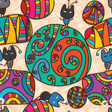 Circle world mascot seamless pattern Royalty Free Stock Photography