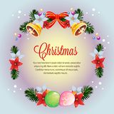 Circle wreath colorful christmas poinsettia card vector stock illustration