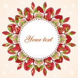 Circle wreath frame made from autumn leaves, round border illustration on a light background with bokeh. Autumn foliage, seasonal image. Red, yellow, orange vector illustration