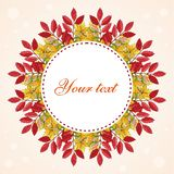 Circle wreath frame made from autumn leaves, round border illustration on a light background with bokeh. Autumn foliage, seasonal image. Red, yellow, orange royalty free illustration