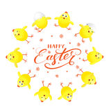 Circle of yellow chicks and Happy Easter on white background Stock Photo