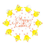 Circle of yellow Easter chicks on white background Stock Photo